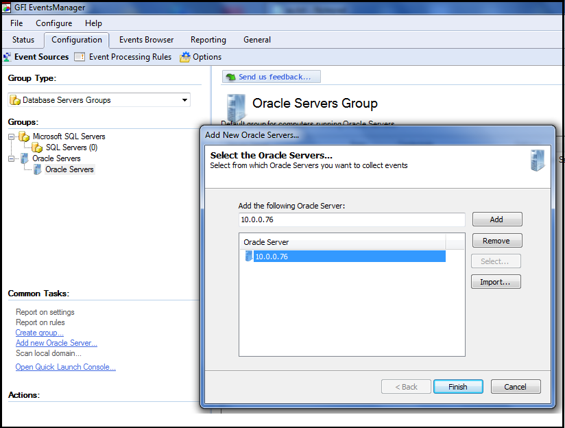 ADDING ORACLE SERVER IN THE GFI EVENT MANAGER
