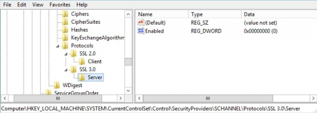 Disabling SSLv3.0 in IIS