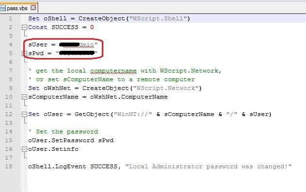 Figure 7: Local admin password in VBS file