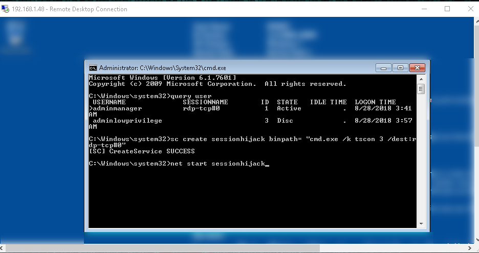 Password-less Remote Desktop Protocol (RDP) Session